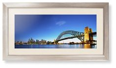 Sydney Harbour Bridge Framed Print, Metallic, Modern, Cream, Cream, Single piece, 10 x 24 inches