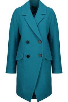 DIANE VON FURSTENBERG WOMAN FINOLA BOUCLÉ WOOL COAT TEAL. #dianevonfurstenberg #cloth #
