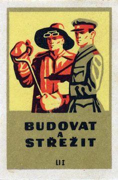 "Matchbox label, Czechoslovakia. ""Building and defence"" (rough translation)"
