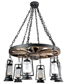49er Ext. Bottom Lanterns Wagon Wheel Chandelier