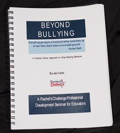 Beyond Bullying Seminar Manual as part of the Rachel's Challenge programs Rachels Challenge, Anti Bullying, School Counselor, Professional Development, Counseling, Curriculum, Ecommerce, Art For Kids, Manual