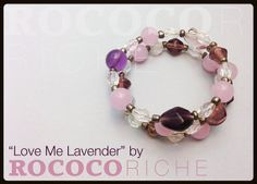 "Such sweet hues all together make for a lovely array of lavender, pink, and dark purple. Small crystals mirror the pretty colors with iridescent facets. ""Love Me Lavender"" looks great worn single or stacked. Wear it with a cardigan and slacks for work or pair it with a solid tee and dark jean combo to dress up a casual look! Purple Beaded Bracelet with Crystals and Metallic by RococoRiche, handmade jewelry available on Etsy!"