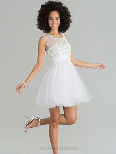 A-line Tulle Scoop Neck Beading Short/Mini Formal Dresses -AUD$144.29