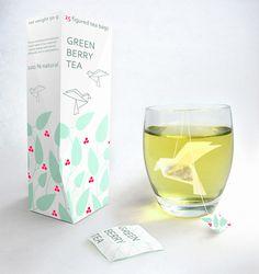 Tea_packaging_design  Packaging and origami bird tea bag by Green Berry Tea