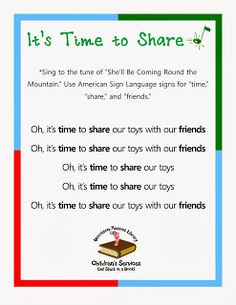 Morrisson-Reeves Library! MRL Kids Read!: Preschool Songs About Sharing and Helping Others