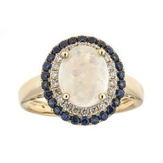 Shop for Anika and August 14k Yellow Gold Australian Opal, Blue Sapphire and 1/4ct TDW Diamond Ring (G-H, I1-I2) . Get free delivery at Overstock.com - Your Online Jewelry Destination! Get 5% in rewards with Club O!