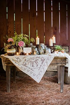 Farm table and vintage lace tablecloth