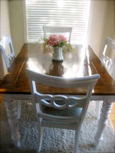 Painting In Portland: Wood Stained Farmhouse Table