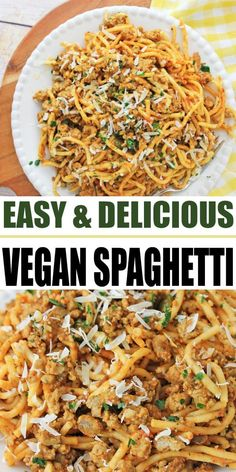 Looking for easy Vegan Dinner recipes? This plant based Vegan Spaghetti is perfect for anyone practicing a Vegan diet or just looking to implement more meatless meals into their life. Night Dinner Recipes, Vegan Dinner Recipes, Vegan Dinners, Vegan Spaghetti, Spaghetti Recipes, Yummy Pasta Recipes, Healthy Recipes, Easy Recipes, Yummy Food
