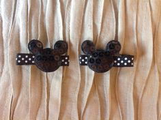 Pair of Black Minnie Mouse Inspired Hair Clips by by iguania03, $4.99