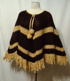 Vintage 60s Poncho Knit Cape Hand Made Acrylic Yarns Pom Poms Brown Boho Hippie