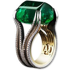 Alexandra Mor Emerald and Diamond Ring - 26.16-carat stone, set with two rows of diamonds and one of gold and the organic casual look of the sugarloaf cabochon.