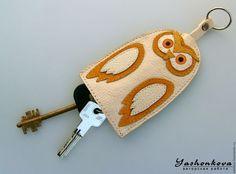 """Ключницы ручной работы. Ярмарка Мастеров - ручная работа. Купить Ключница """"Сова желтокрылая"""". Handmade. Оранжевый, натуральная кожа, полиэстер"""