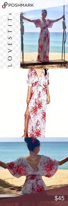 Love Stitch Kimono Dress Floral This dress is stunning , worn once on my honeymoon, perfect condition this is a S/M Love Stitch Dresses Maxi
