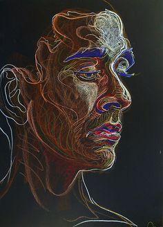 Fred Hatt - Rafael - cool....pastels and pastel pencils on black paper!