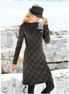 Chic and sophisticated, this versatile, go-everywhere dress is cut on the bias in an Italian plaid of wool (72%), polyamide (27%) and elastane (1%). The classic styling is countered with edgy, modern details—a zipper trim at the contoured yoke and angled zip pockets. In muted mineral tones; full lining; exposed back zipper.  Winslet Dress, 37