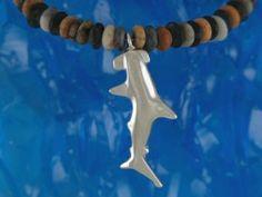 Reef Jewellery - Small Silver Hammerhead Shark Pendant on Picasso Jasper Bead Necklace -Scuba Diving