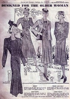 Spring & Summer Fashions for the older woman (1938-39). #vintage #1930s #fashion #illustrations
