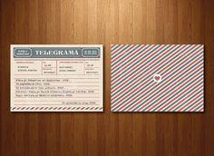 Invitație tip telegramă format A6 (105 x 148 mm).