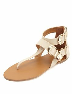 Gold-Tipped Belted Thong Sandals: Charlotte Russe