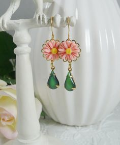 Earrings with Vintage Glass Gems and Peach Daisies by IndulgedGirl, $15.00