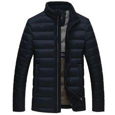 Men's Cartelo Winter Slim Thin Duck Down Jacket Short Coat with Collar