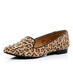 brown leopard print studded slipper shoes - pumps / plimsolls - shoes / boots - women - River Island