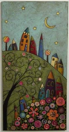 Tree Collage, Tree Art, Art And Illustration, Karla Gerard, Arte Popular, Naive Art, Whimsical Art, Art Plastique, Doodle Art