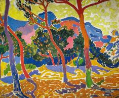 Andre Derain was a co-founder of Fauvism, along with Henri Matisse. This was a short lived movement in art that was focused on the expressive qualities of color, as well as the impact it could have on form and space. Paul Cezanne, Henri Matisse, André Derain, Raoul Dufy, Fauvism Art, Maurice De Vlaminck, Georges Braque, Ouvrages D'art, French Artists