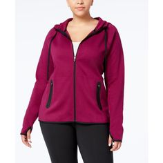 Ideology Plus Size Hoodie, Created for Macy's ($35) ❤ liked on Polyvore featuring plus size women's fashion, plus size clothing, plus size activewear, plus size activewear tops, pretty plum, women's plus size activewear, plus size sportswear and ideology activewear