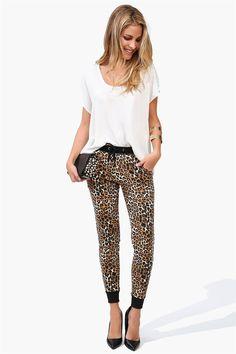 Leopard Jogger Pants in Leopard- fun!