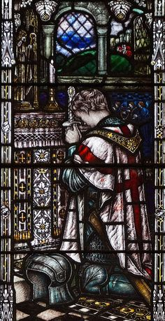 Andrew & Mary, How Capel. This shows an English knight (prehaps St George) praying at the Altar. Medieval Stained Glass, Stained Glass Church, Stained Glass Art, Stained Glass Windows, Catholic Art, Religious Art, Crusader Knight, Church Windows, Knight Art