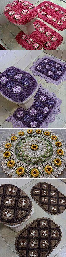 PADS al baño buenas ideas. Rugs And Mats, Crochet Decoration, Crochet Cross, Bathroom Sets, Household Items, Doilies, Crochet Projects, Needlework, Knitting Patterns