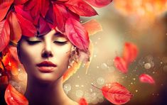 Beautiful Model Girl with colourful autumn leaves hairstyle. Fashion Art design with copy space for your text Beautiful Model Girl, Beauty Youtubers, Full Face Makeup, Summer Skin, Girl Falling, Fair Skin, Professional Makeup, Girl Model, Bridal Makeup