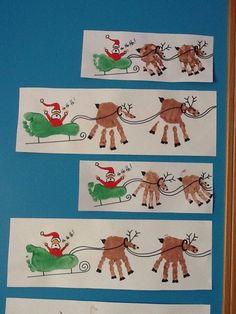 Handprint Reindeers and footprint Santa's sleigh.