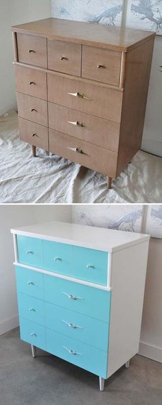 Tall Sea Blue Chest - Before \ After Glaze, Handmade furniture and