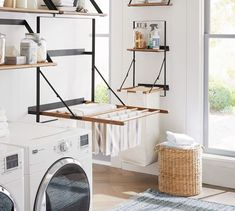 Rustic yet modern, our stylishly practical Trenton Laundry Drying Rack is crafted from mango wood and industrial steel. The handy wall-mounted rack frees up floor space, allows for ample air flow and folds up when not in use. Mudroom Laundry Room, Laundry Room Remodel, Laundry Decor, Small Laundry Rooms, Laundry Room Organization, Laundry Room Design, Organization Ideas, Laundry Storage, Organized Laundry Rooms