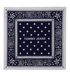 Echarpes Foulards · Bandana en coton et griffé Tommy Jeans en bleu   achetez  votre bandana en coton et 2331d68e502