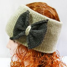 Ear Warmer- Knit Headband with Bow, Head Muff, Knitted Headband
