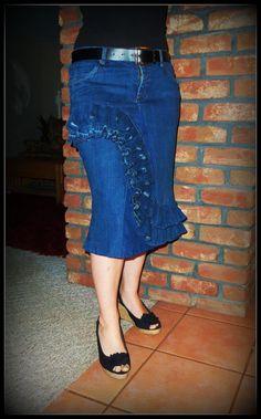 Delarosa Custom Jean Skirts - Ruffle Wave Skirt