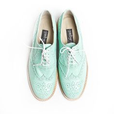mint oxford brogue shoes by goodbyefolk