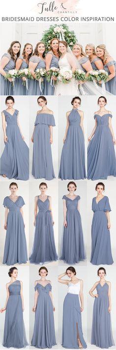 dusty blue bridesmaid dresses for wedding 2018 photo by Penni Lauren Photography #wedding #weddinginspiration #bridesmaids #bridesmaiddress #bridalparty #maidofhonor #weddingideas #weddingcolors #tulleandchantilly