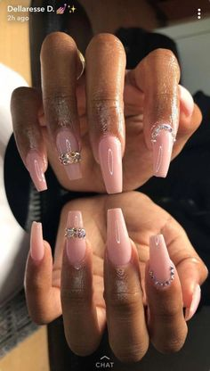 Acrylic Nails Designs – Our 50 Most Eye Catching Nail Designs Glam Nails, Dope Nails, Cute Acrylic Nails, Acrylic Nail Designs, Hair And Nails, My Nails, Pink Nails, Gel Nails At Home, Nagel Gel