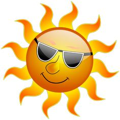 Sun Emoji, Sun Clip Art, Summer Safety Tips, Ray Day, Cartoon Sun, Summer Clipart, Holiday Images, Facts For Kids, Birthday Numbers