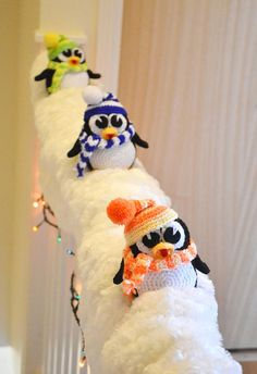 Crochet Pattern Penguins Christmas Decoration Stairs Decor