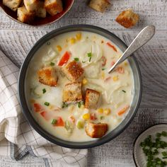 Several times a year I invite both my retired and current teaching friends to a dinner party with their spouses. I've served this halibut chowder at those parties, and it's always a big hit. Potato Corn Chowder, Fish Chowder, Halibut Recipes, Seafood Recipes, Chowder Recipes, Soup Recipes, Halibut Chowder Recipe, Homemade Biscuits Recipe, Soups