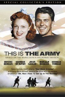 This Is the Army (1943) stars George Murphy with Ronald Reagan.  Music by Irving Berlin.