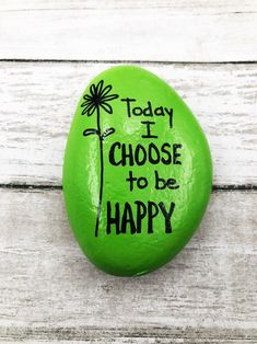 Rock Painting Ideas Discover Today I Choose to Be Happy Encouragement Rock Affirmation Stone Hand Painted Rock Christmas gift Teacher gift stocking stuffer Rock Painting Patterns, Rock Painting Ideas Easy, Rock Painting Designs, Rock Painting Ideas For Kids, Painted Rocks Craft, Hand Painted Rocks, Painted Garden Rocks, Painted Stones, Stone Crafts