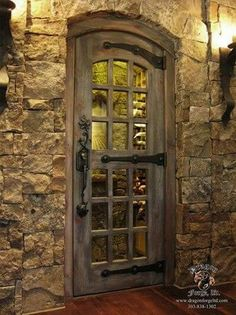 Custom-made wine cellar doors Dragon Forge - Colorado Blacksmith Cool Doors, The Doors, Entrance Doors, Front Doors, Door Entry, Entrance Ideas, Panel Doors, Rustic Doors, Wooden Doors