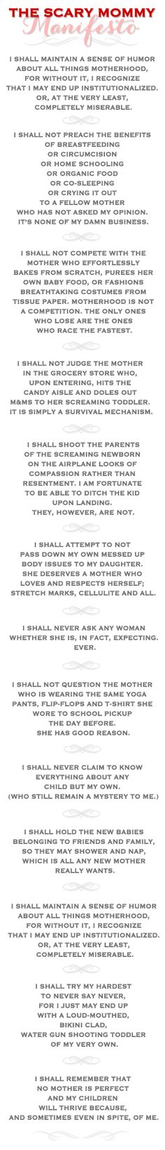 Scary Mommy Manifesto: I shall maintain a sense of humor about all things motherhood...